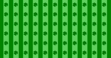 St. Patrick's Day green leaves background. Patrick Day backdrop with falling shamrock leaf pattern. For festive pub party. 3d render 3D illustration Imagens