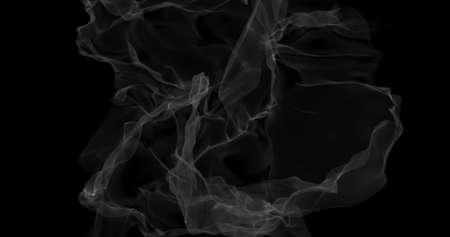 Floating white smoke on black background. Dry ice smoke fog for overlay blending mode. Abstract smoke clouds. Haze backdrop. 3D illustration Imagens