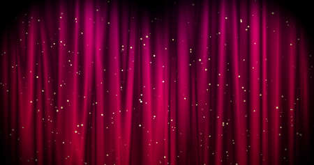 Magical Merry Christmas background with red stage curtain cloth and golden falling stars . Luxury walpaper for the day of St. Valentine, New Year, Unniversary celebation and Wedding ceremony 3d illustration