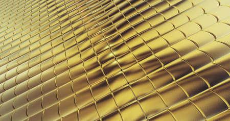 Golden foil tiles texture background. Digital 3d surface. 3D illustration