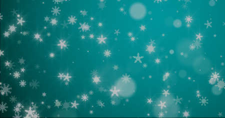 Christmas background with snowflakes - falling snow on a blue background 3D rendering Imagens