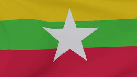 flag Myanmar patriotism national freedom , 3D illustration