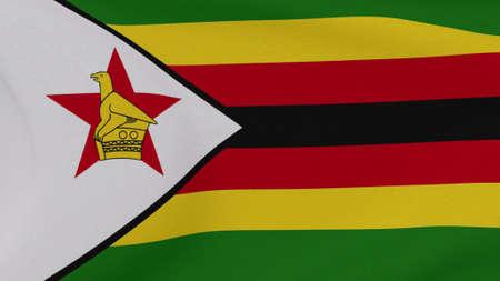 flag Zimbabwe patriotism national freedom, 3D illustration