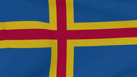 flag Aland Islands patriotism national freedom, 3D illustration