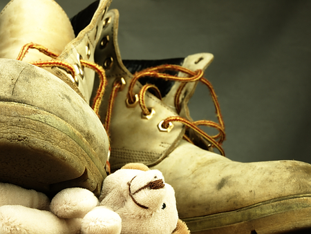 annexation: Teddy bear under the old, dirty and heavy military boot. The view from the perspective of frogs.