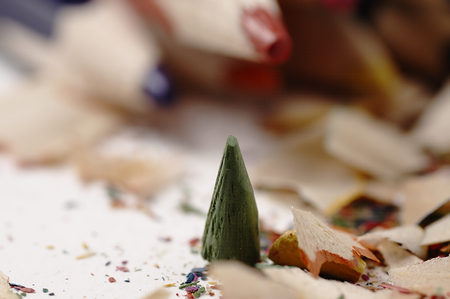 mess: Creative mess on the table cartoonist. Wooden crayons. Stock Photo