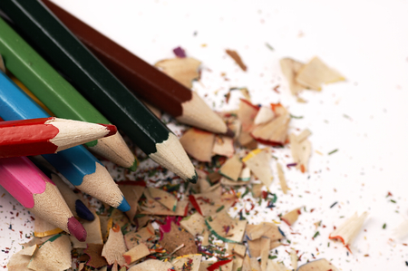 mess: Colorful wooden pencils. Artistic mess on the table.