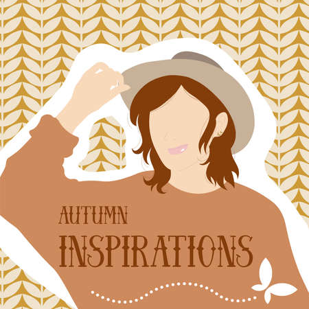 Autumn inspirations. Vector illustration of woman wearing warm clothes and golden butterfly earrings. 向量圖像