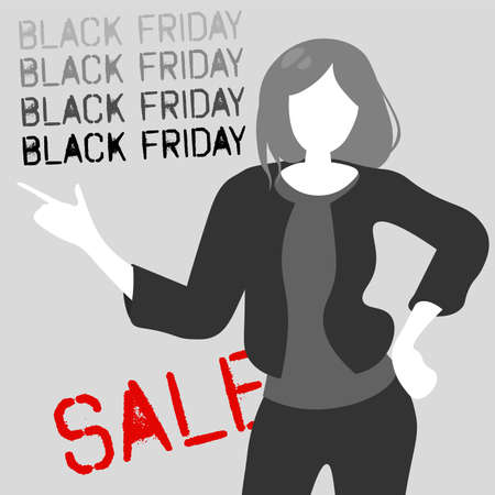 Black Friday sale illustration. Anonymous stylish woman pointing finger at gray background.