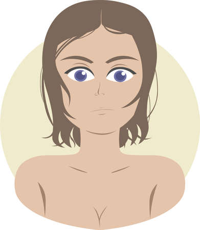Portrait of girl with wet (or oily) hair. She has short brown hair and big dark blue eyes. She's a little surprised and doesn't look happy. 向量圖像