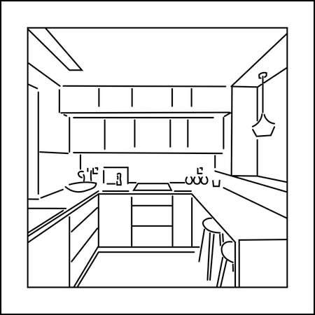 Framed line sketch of the kitchen interior. Design of modern european kitchen. 向量圖像