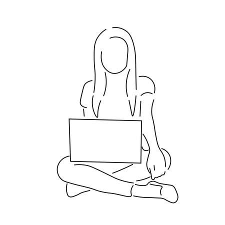 Line drawing of a woman sitting on the floor with her legs crossed. She's holding a laptop or a tablet.