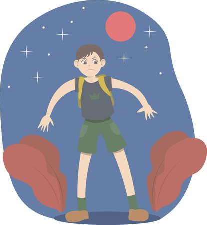 Camper boy lost in the woods. Scared child cannot find his way home. He's cold, hungry and alone. He could run away from home. Vector illustration.