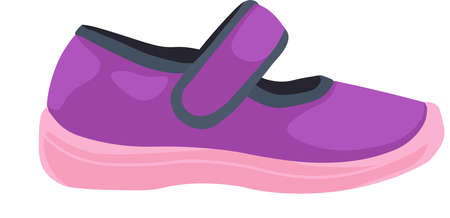 Purple toddler shoe on white background. Vector Illustration.