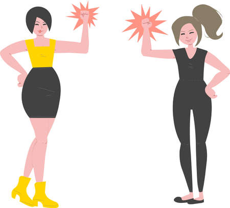 Women empowerment. Vector illustration of two strong women celebrating their success. You can use it as two separate drawings. Perfect for your website, blog, banner, video.
