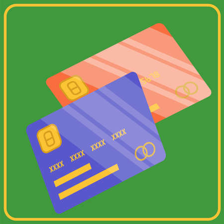 Vector illustration of two shiny credit cards on green background. Flat design credit card template.