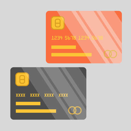 Vector illustration of two shiny credit cards. Flat design credit card template.