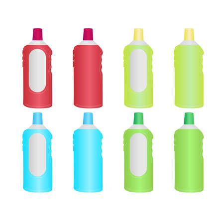 Universal liquid for cleaning surfaces. Cartoon detergent bottles / cleaning supplies. Four different kinds with labels and without. Bright colors. Vector illustration EPS 10.