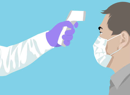 Temperature check. Doctor holding a non-contact thermometer in hand. Mask on the face. Coronavirus prevention. Simple flat illustration showing body temperature check sign during covid-19 outbreak.