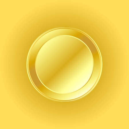 Vector illustration of shiny golden coin on square background. Coin is blank and editable. 向量圖像
