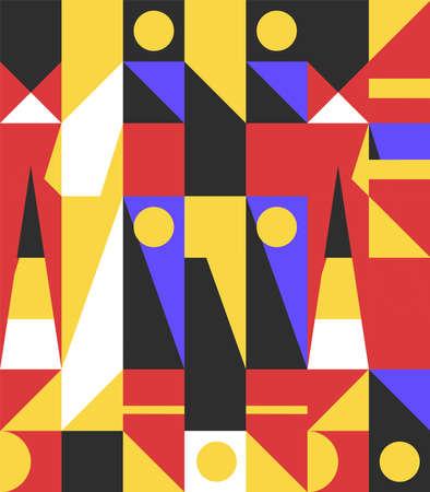 Classic retro geometric wallpaper inspired by bauhaus design. Vector background