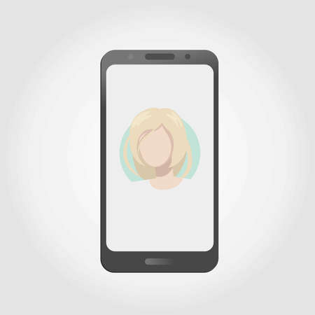 Smartphone showing profile picture of attractive blonde woman. Mobile dating app / site. Vector illustration EPS 10.