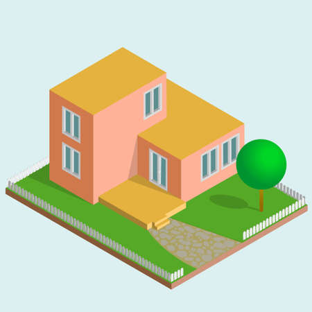 Simple isometric orange house. Small house with flat roof, terrace and little garden. Vector illustration.