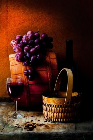 still life of wine: still life with Grapes