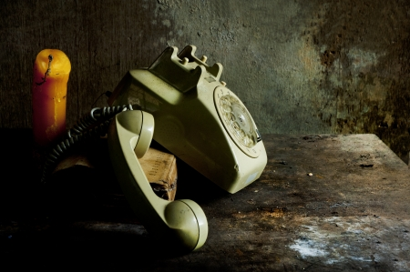 tableau: old Phone still life Stock Photo
