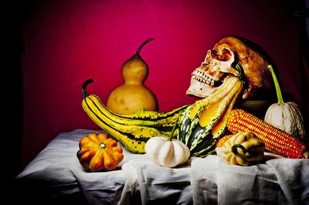 cadaver: Still Life with a Skull and pumpkin