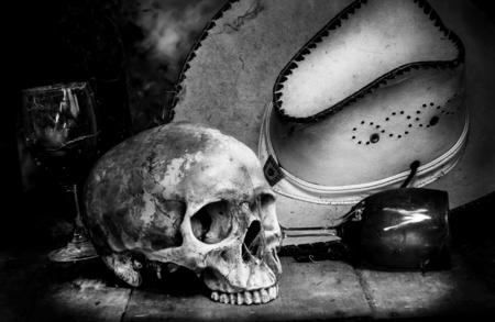 tattoo face: Still Life  with a Skull