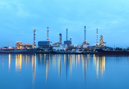 Refinery plant area at twilight in morning photo