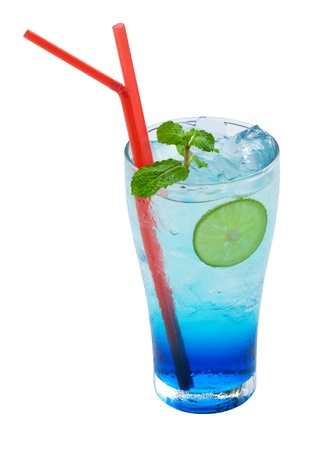 Blue lemonade cocktail on a white background Stock Photo - 14812161