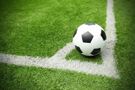 football pitch: Soccer football field stadium grass line Stock Photo