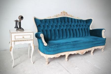 muebles antiguos: Sill�n azul de lujo de la vendimia
