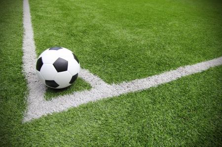 Soccer football field stadium grass line Stock Photo