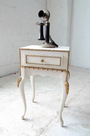 Vintage telephone on classic table