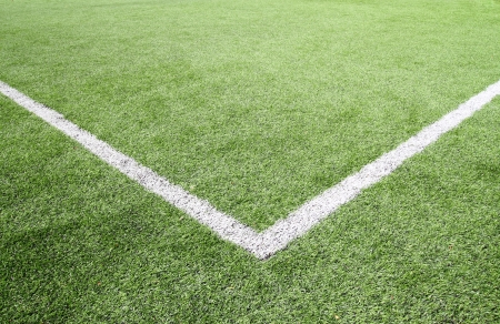 Soccer field grass on the green corner  Standard-Bild