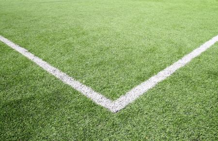 Soccer field grass on the green corner  Stock Photo