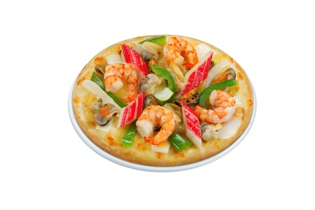 Seafood pizza isolated on white background clipping path Stock Photo - 17792729