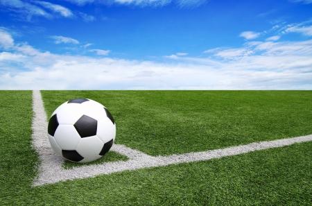 Soccer football field stadium grass line blue sky Background Standard-Bild