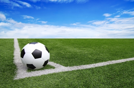 Soccer football field stadium grass line blue sky Background Stock Photo