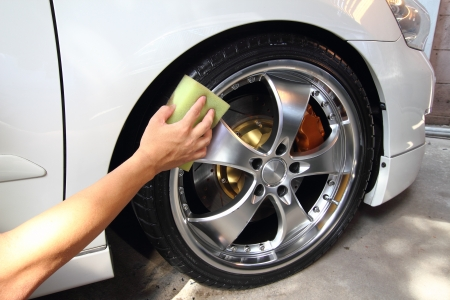 Coated wheels car wash