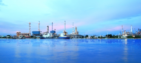 pollutant: Refinery plant area at twilight panorama