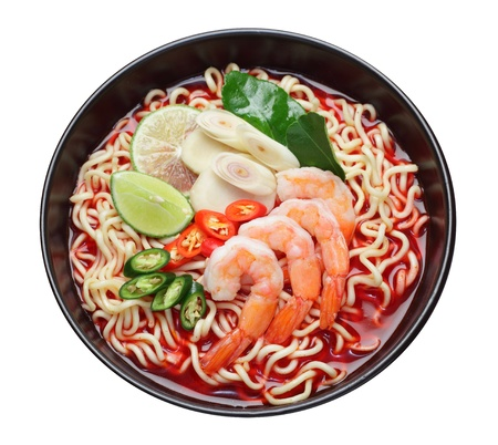 Prawn noodle soup isolate on white background  clipping path