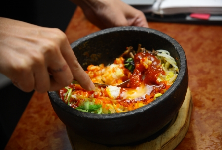 Korean cuisine with  bibimbap mashing