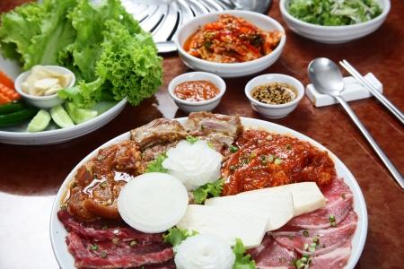 korean: Korean cuisine   barbecue grill set Stock Photo