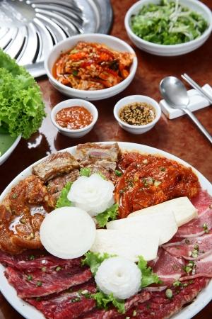 Korean cuisine   barbecue grill set Stock Photo