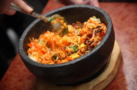 korean food: Korean cuisine with  bibimbap mashing