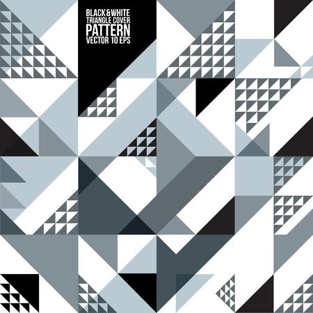 삼각형: 추상적 인 기하학적 블랙 화이트 삼각형 패턴 배경, 커버, 레이아웃, 잡지, 소책자, 포스터, 웹 사이트 등